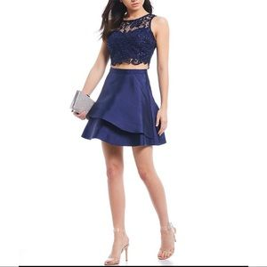 Lace Top with Double Hem Skirt Two-Piece Dress